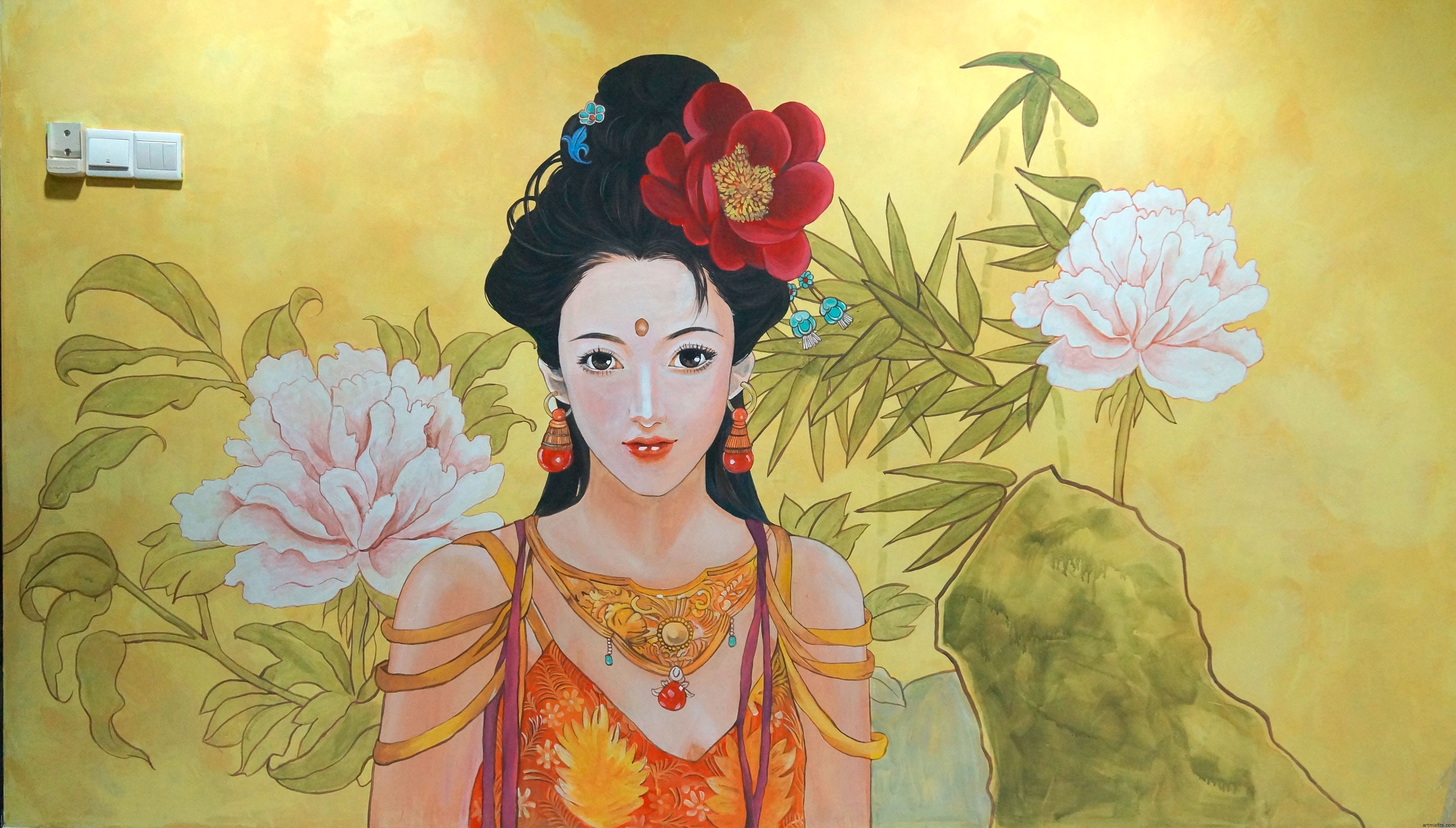 Oriental chinese girl painting art misfits voltagebd Image collections