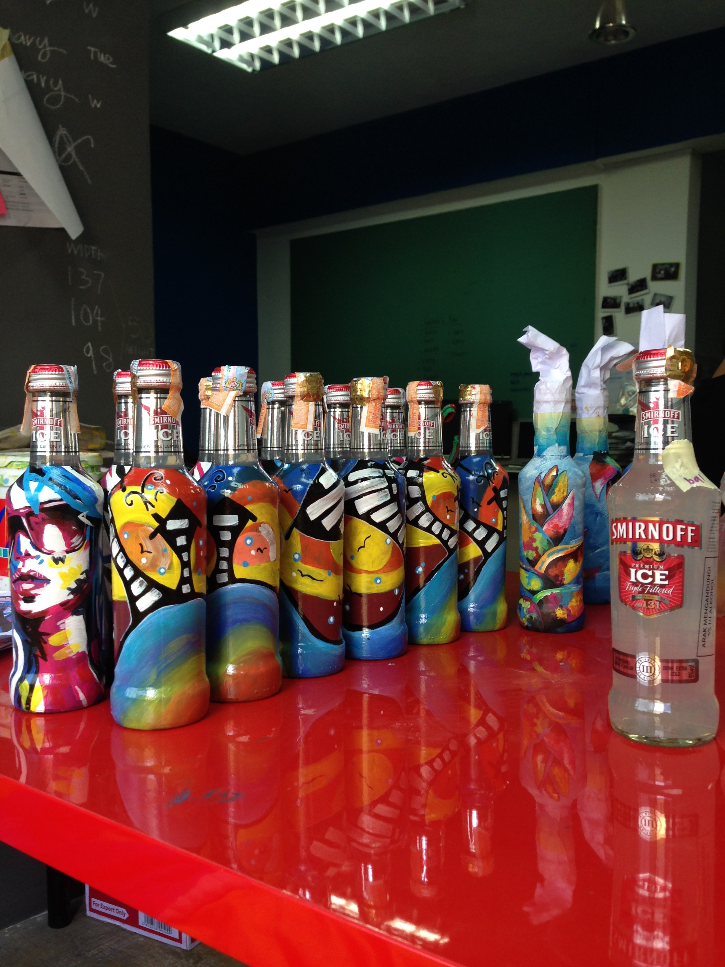 Art Misfits Painted bottles for Smirnoff 1
